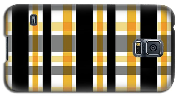 Galaxy S5 Case featuring the photograph Yellow Gold And Black Plaid Striped Pattern Vrsn 1 by Shelley Neff