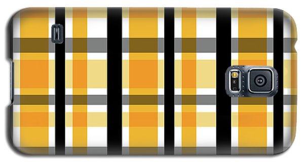 Galaxy S5 Case featuring the photograph Yellow Gold And Black Plaid Striped Pattern Vrsn 2 by Shelley Neff