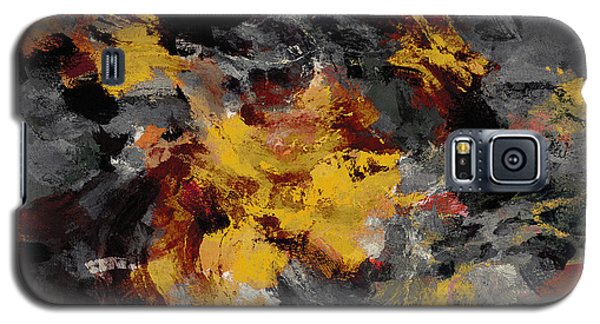 Galaxy S5 Case featuring the painting Yellow / Golden Abstract / Surrealist Landscape Painting by Ayse Deniz