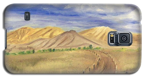 Galaxy S5 Case featuring the painting Yellow Hills Of Jensen by Sherril Porter