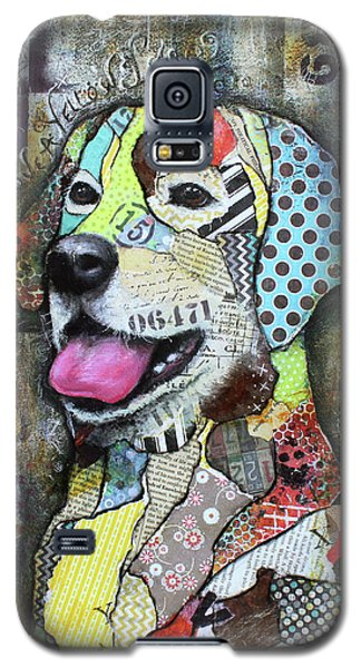 Galaxy S5 Case featuring the mixed media Yellow Lab by Patricia Lintner