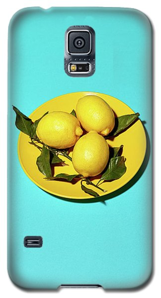 Yellow Lemons On Cyan Galaxy S5 Case by Oleg Cherneikin