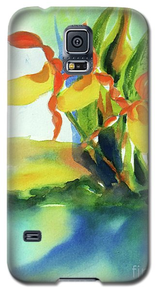 Galaxy S5 Case featuring the painting Yellow Moccasin Flowers by Kathy Braud