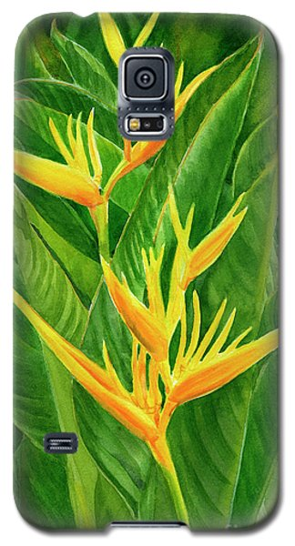 Parakeet Galaxy S5 Case - Yellow Orange Heliconia With Leaves by Sharon Freeman