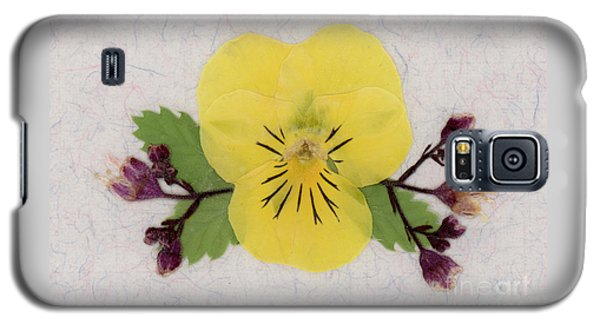 Yellow Pansy And Coral Bells Pressed Flowers Galaxy S5 Case