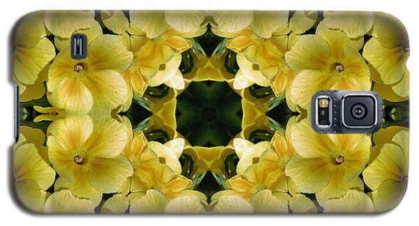 Galaxy S5 Case featuring the digital art Yellow Primrose Kaleidoscope by Smilin Eyes  Treasures