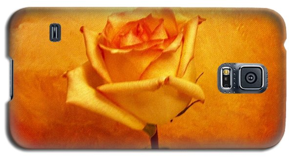 Yellow Red Orange Tipped Rose Galaxy S5 Case by Marsha Heiken