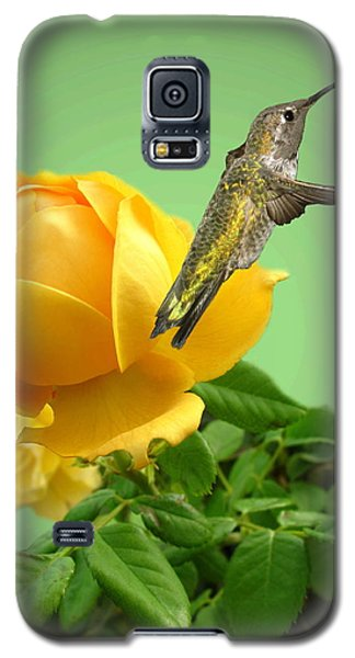 Yellow Rose And Hummingbird 2 Galaxy S5 Case