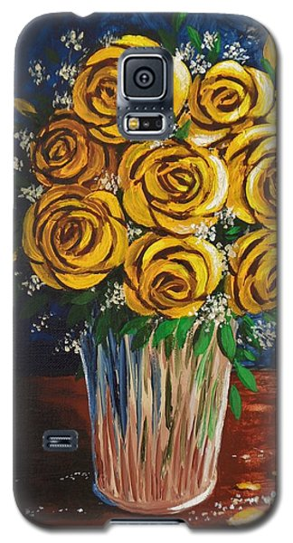 Galaxy S5 Case featuring the painting Yellow Roses by Katherine Young-Beck
