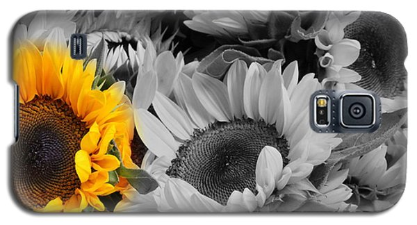 Yellow Sunflower On Black And White Galaxy S5 Case