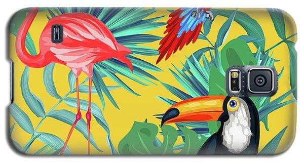 Flamingo Galaxy S5 Case - Yellow Tropic  by Mark Ashkenazi