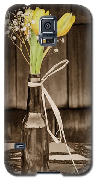 Galaxy S5 Case featuring the photograph Yellow Tulips In Glass Bottle Sepia by Terry DeLuco