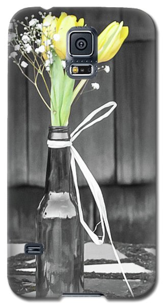 Galaxy S5 Case featuring the photograph Yellow Tulips In Glass Bottle by Terry DeLuco