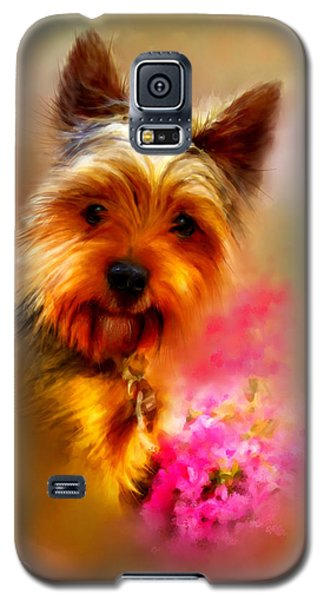 Galaxy S5 Case featuring the digital art Yorkie Portrait by Patricia Lintner