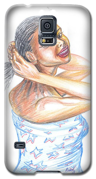 Galaxy S5 Case featuring the painting Young Cameroun Woman Tying Her Hair by Emmanuel Baliyanga
