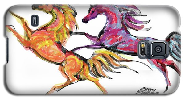 Young Horses Playing Galaxy S5 Case by Stacey Mayer