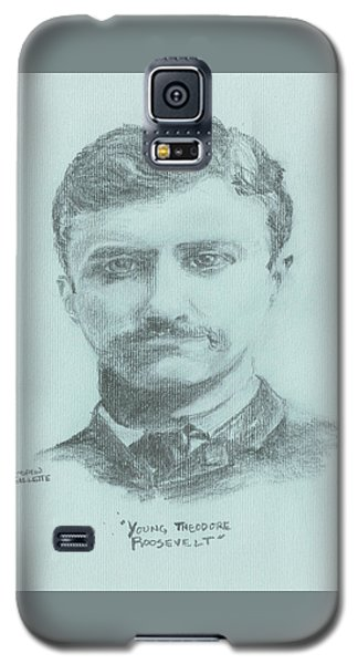 Galaxy S5 Case featuring the drawing Young Theodore Roosevelt by Andrew Gillette