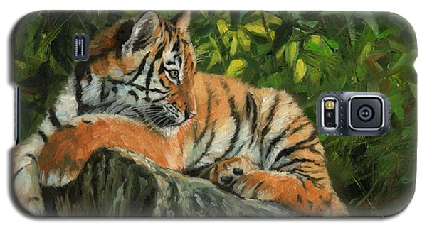 Galaxy S5 Case featuring the painting Young Tiger Resting On Rock by David Stribbling