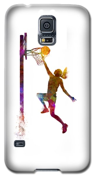 Young Woman Basketball Player 04 In Watercolor Galaxy S5 Case by Pablo Romero