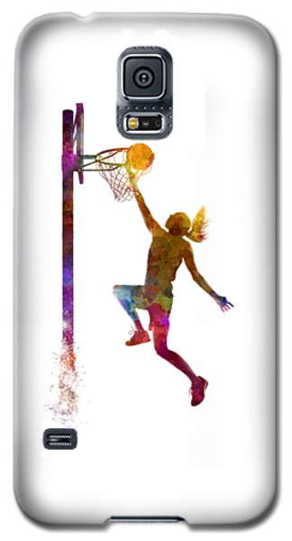 Young Woman Basketball Player 04 In Watercolor Galaxy S5 Case