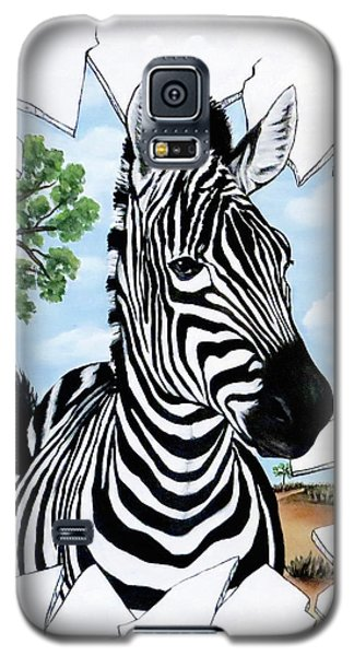 Galaxy S5 Case featuring the painting Zany Zebra by Teresa Wing