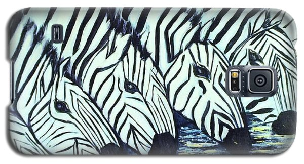 Galaxy S5 Case featuring the painting Zebra Line by Donna Dixon