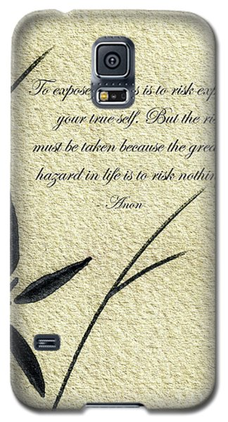 Zen Sumi 4m Antique Motivational Flower Ink On Watercolor Paper By Ricardos Galaxy S5 Case