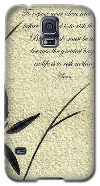 Zen Sumi 4n Antique Motivational Flower Ink On Watercolor Paper By Ricardos Galaxy S5 Case