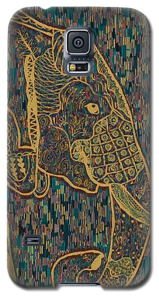 Zentangle Elephant-oil Gold Galaxy S5 Case