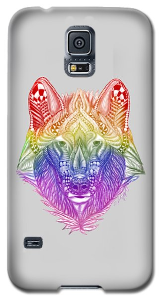 Zentangle Inspired Art- Rainbow Wolf Galaxy S5 Case