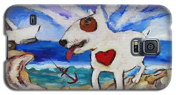Galaxy S5 Case featuring the painting Zephyr Dog Goes To The Beach by Dianne  Connolly
