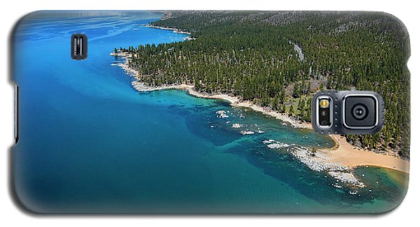 Galaxy S5 Case featuring the photograph Zephyr Cove To Cave Rock Aerial by Brad Scott