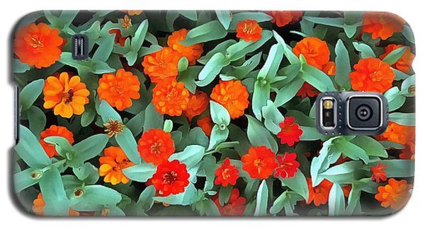 Galaxy S5 Case featuring the photograph Zinnia Flower - Profusion Orange by Janine Riley