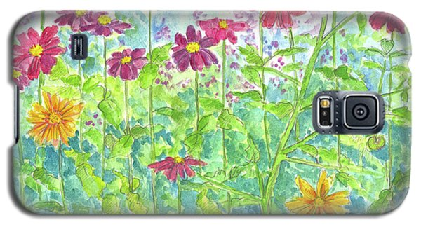 Galaxy S5 Case featuring the painting Zinnias  by Cathie Richardson