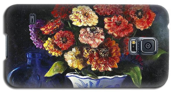 Galaxy S5 Case featuring the painting Zinnias by Marlene Book
