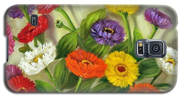 Galaxy S5 Case featuring the painting Zinnias by Randol Burns