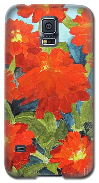 Galaxy S5 Case featuring the painting Zinnias by Sandy McIntire