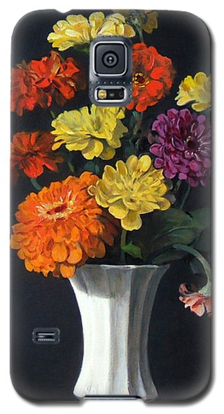 Zinnias Showing Their True Colors In White Vase Galaxy S5 Case