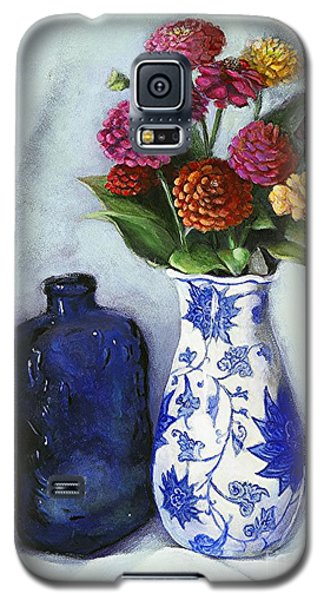 Galaxy S5 Case featuring the painting Zinnias With Blue Bottle by Marlene Book