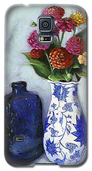 Zinnias With Blue Bottle Galaxy S5 Case