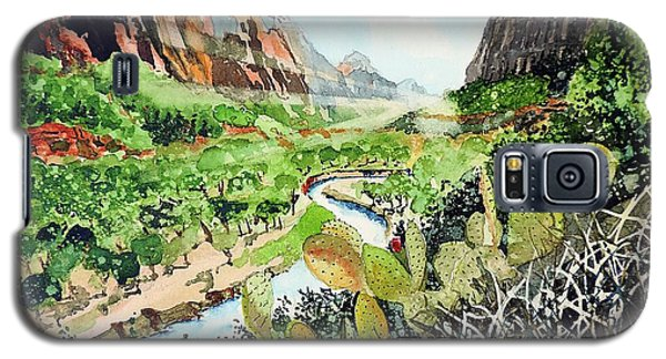 Galaxy S5 Case featuring the painting Zion And The Virgin River by Tom Riggs