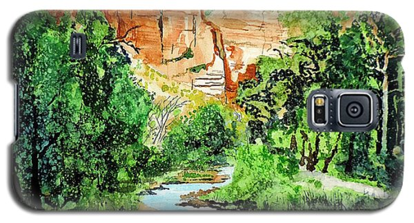 Galaxy S5 Case featuring the painting Zion And The Virgin River Two by Tom Riggs