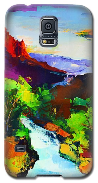 Galaxy S5 Case featuring the painting Zion - The Watchman And The Virgin River by Elise Palmigiani