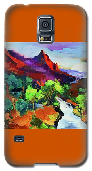 Galaxy S5 Case featuring the painting Zion - The Watchman And The Virgin River Vista by Elise Palmigiani