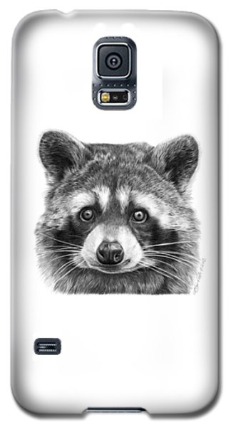 Galaxy S5 Case featuring the drawing 046 Zorro The Raccoon by Abbey Noelle
