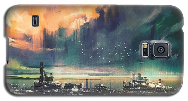 Town Galaxy S5 Case - Landscape Digital Painting Of Sci-fi by Tithi Luadthong