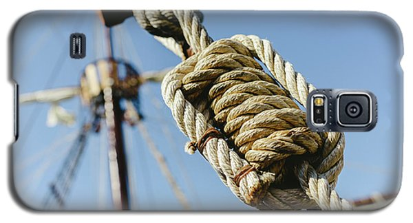 Rigging And Ropes On An Old Sailing Ship To Sail In Summer. Galaxy S5 Case