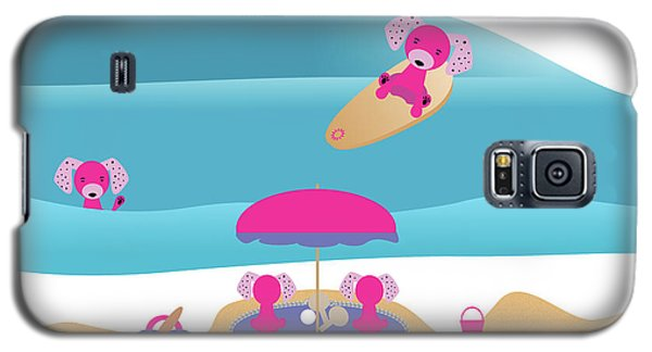 A Dog Family Surf Day Out Galaxy S5 Case