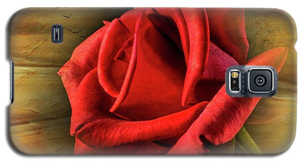 A Red Rose On Gold Galaxy S5 Case