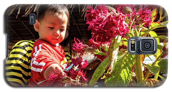 A Small Person With Reflected Flowers Galaxy S5 Case